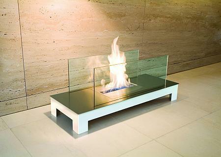 Floor Flame Biokamin weiß / Edelstahl
