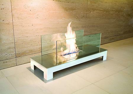 Floor Flame Biokamin weiß / hochglanzverchromt