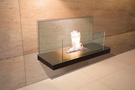 Wall Flame 2-540A Biokamin schwarz/Edelstahl mit Glas klar