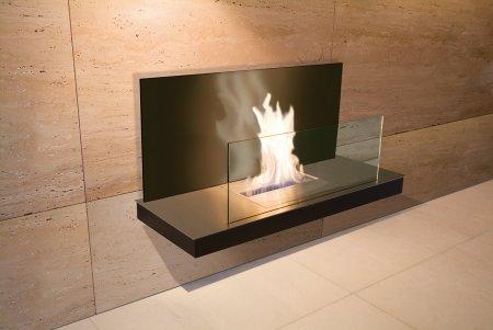 Wall Flame 2-540B Biokamin schwarz/Edelstahl mit Glas schwarz