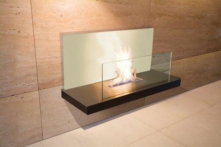 Wall Flame 2-541C Biokamin schwarz/Edelstahl mit Glas weiß