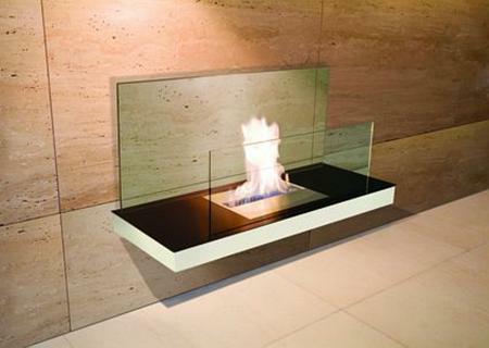 Wall Flame 2-540D Biokamin weiß/Edelstahl mit Glas klar