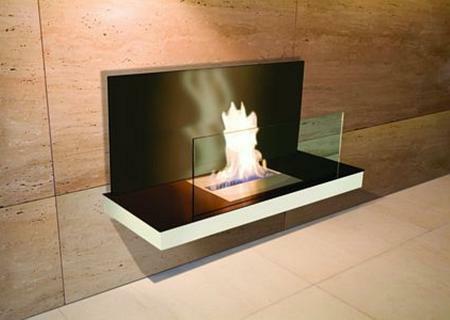 Wall Flame 2-540E Biokamin weiß/schwraz mit Glas schwarz