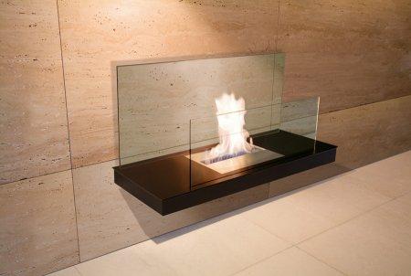 Wall Flame 2-541A Biokamin schwarz/schwarz mit Glas klar