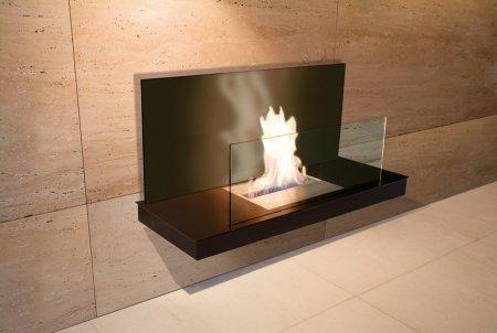 Wall Flame 2-541B Biokamin schwarz/schwarz mit Glas schwarz