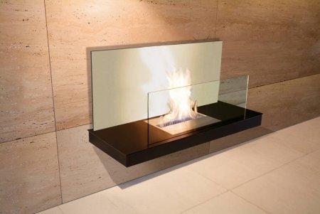 Wall Flame 2 Biokamin schwarz/schwarz mit Glas weiß