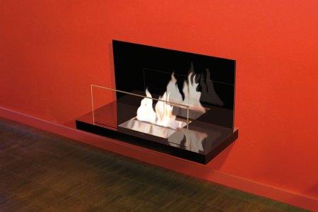 Wall Flame 2-546B Biokamin schwarz/hochglanzverchromt Glas schwarz