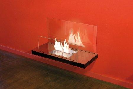 Wall Flame 2-546A Biokamin schwarz/hochglanzverchromt Glas klar
