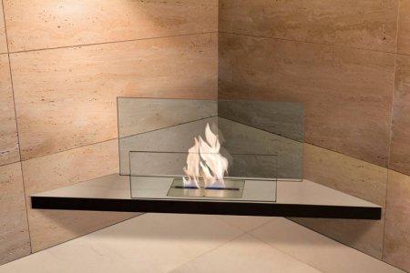 Corner Flame Biokamin Edelstahl, Glas klar
