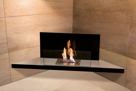 Corner Flame Biokamin Edelstahl, Glas schwarz