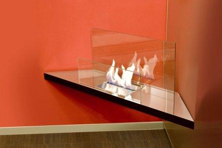 Corner Flame Biokamin Edelstahl hochglanzpoliert, Glas klar