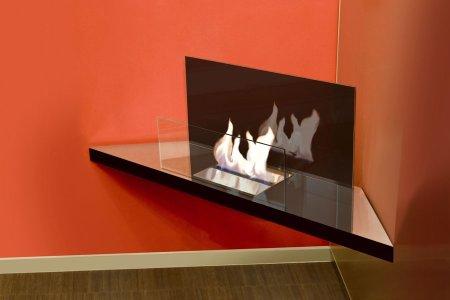 Corner Flame Biokamin Edelstahl hochglanzpoliert, Glas schwarz