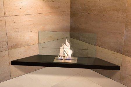 Corner Flame Biokamin Stahl schwarz, Glas klar