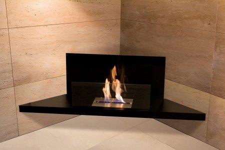 Corner Flame Biokamin Stahl schwarz, Glas schwarz