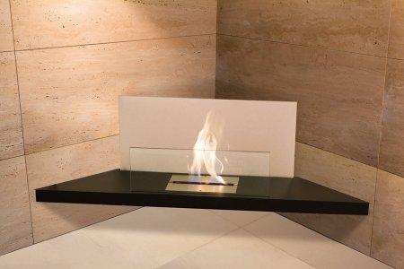 Corner Flame Biokamin Stahl schwarz, Glas weiß
