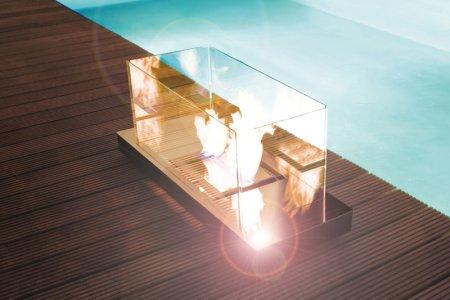 Uni Flame Kamin Edelstahl hochglanzpoliert, Glas klar
