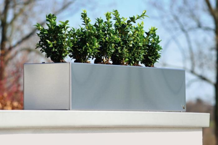 Blumenkasten für Fensterbank, Edelstahl, 80 cm