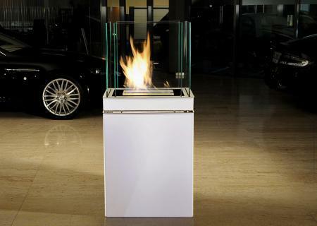 SEMI FLAME Standkamin / Ethanolkamin weiß / Edelstahl