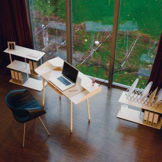 MISS MONEYPENNY Schreibtisch weiß aus der Vogelperspektive