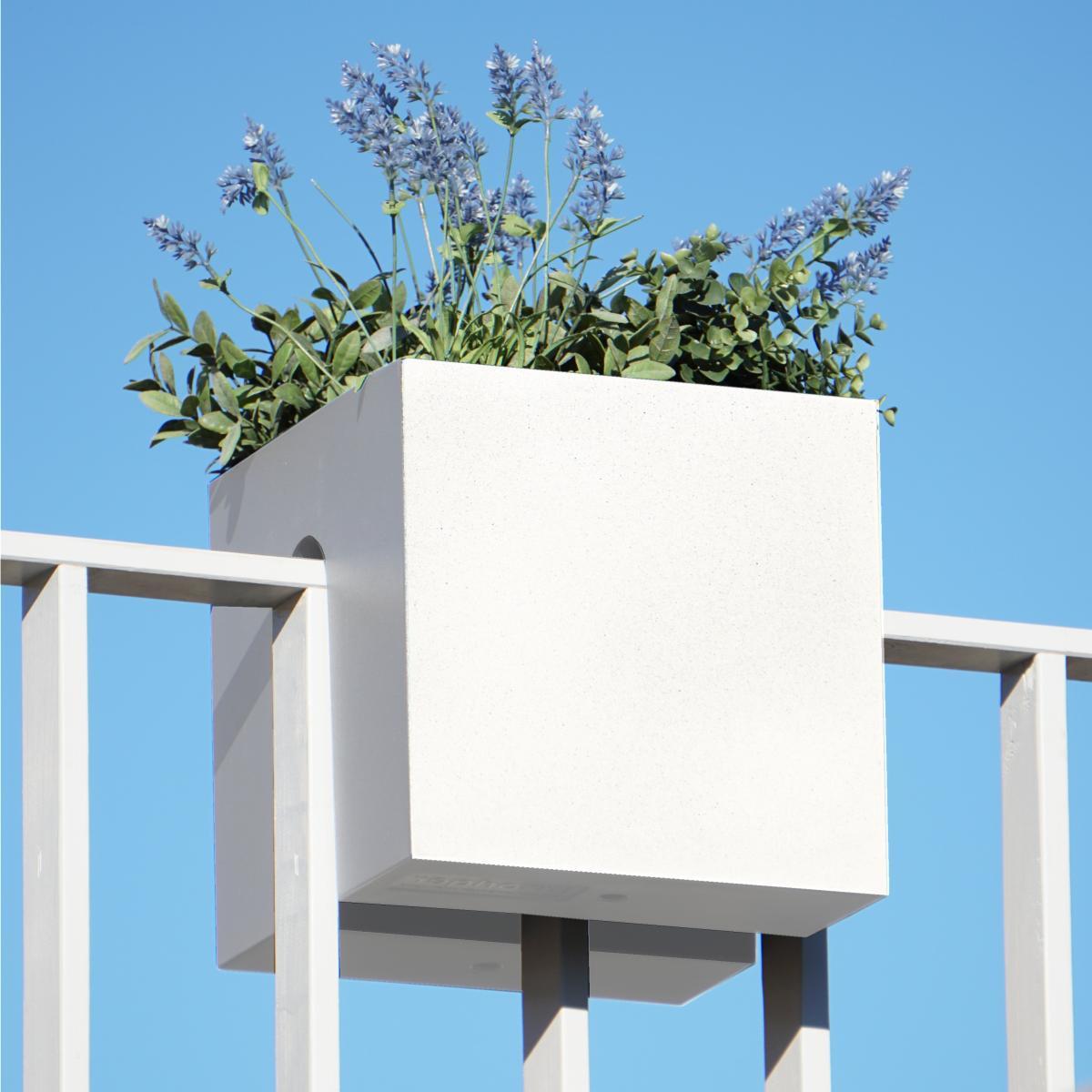 STECKLING CUBE Balkon Pflanzgefäß in weiß