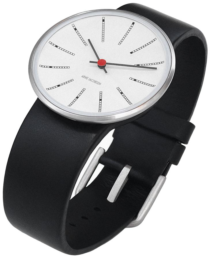 Arne Jacobsen Bankers Armbanduhr schwarz-weiß