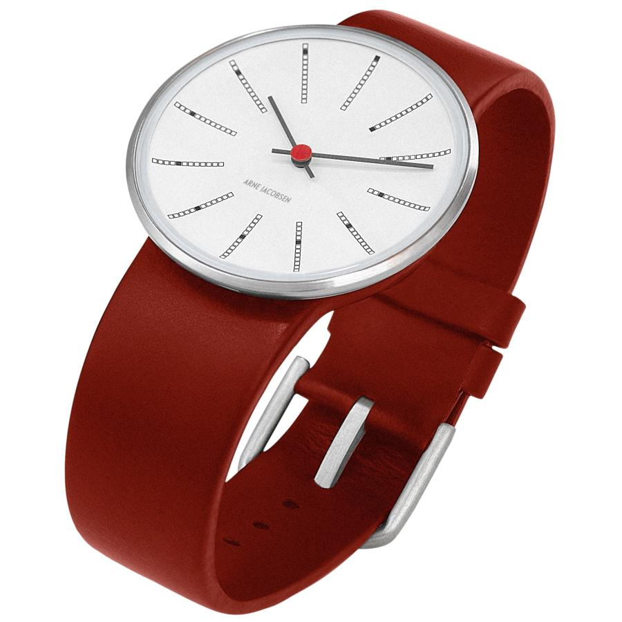Arne Jacobsen Bankers Armbanduhr rot-weiß