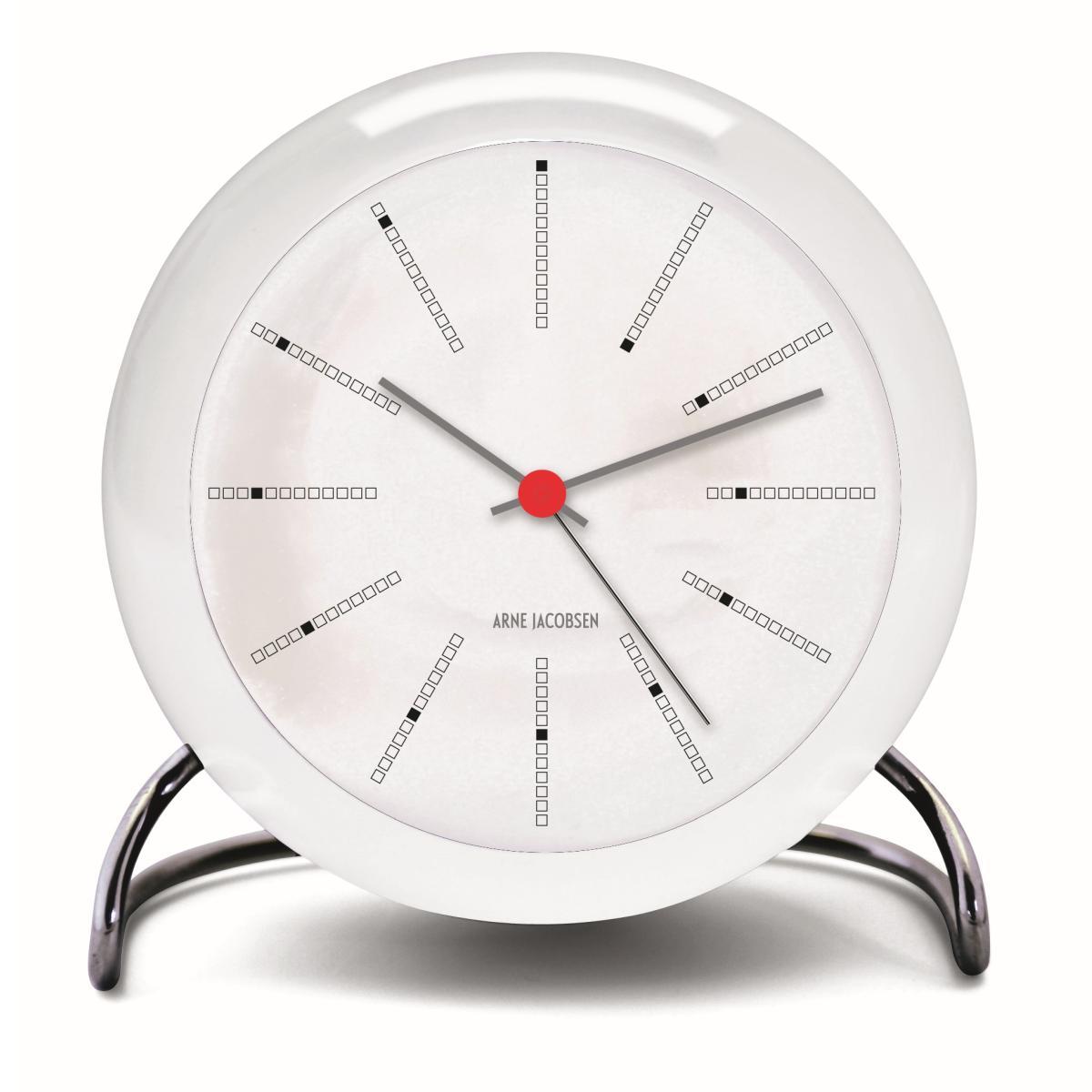 Arne Jacobsen Tischuhr BANKERS mit Wecker, weiß mit rotem Punkt