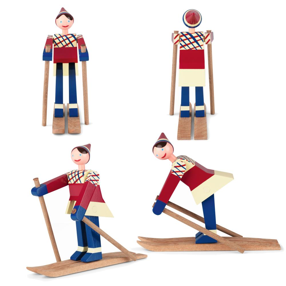 Kay Bojesen Skiläuferin Boje, rot / blau