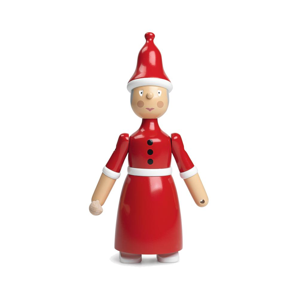 Kay Bojesen Santa Clara Weihnachtsfrau, Höhe 20 cm, Buchenholz handbemalt