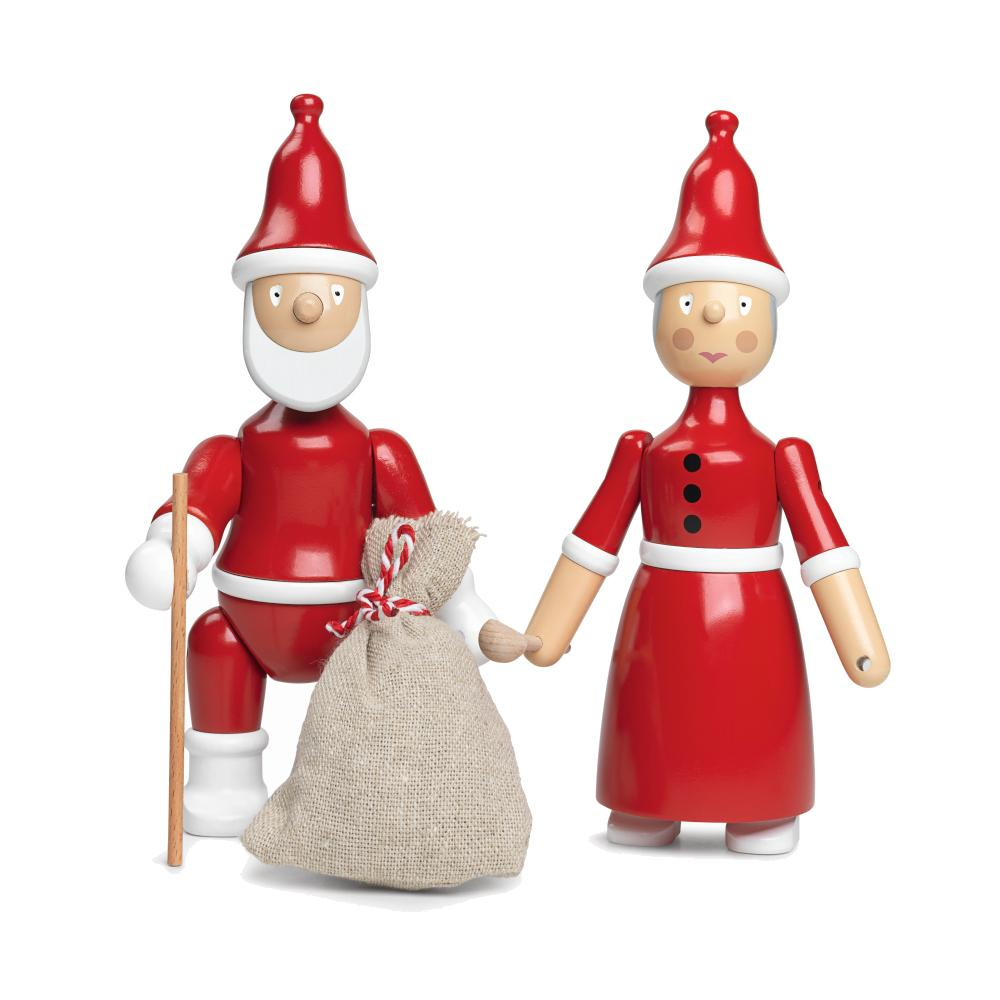 Santa Claus und Santa Clara, die beiden Holzfiguren von Kay Bojesen