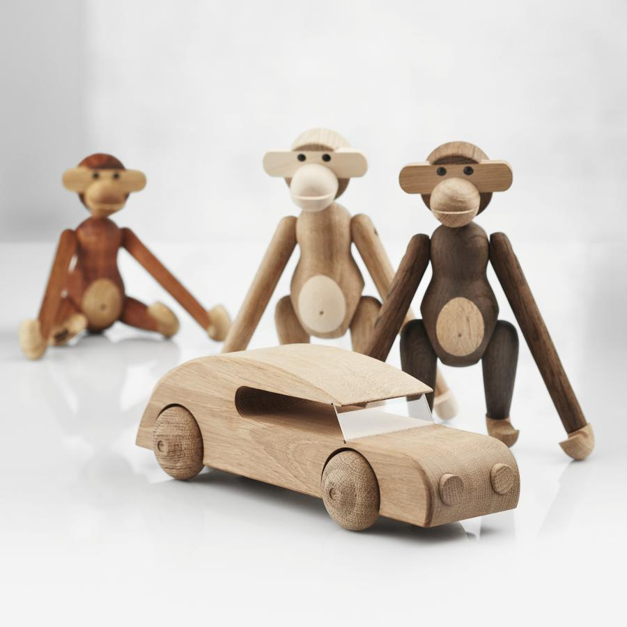 Kay Bojesen: Automobil Sedan groß, Buchenholz, mit den drei Affen