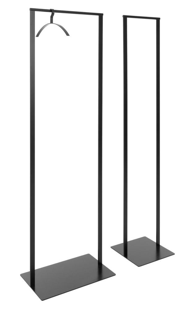 SLIM Standgarderobe 33 und 52 cm breit, Stahl pulverbeschichtet schwarz