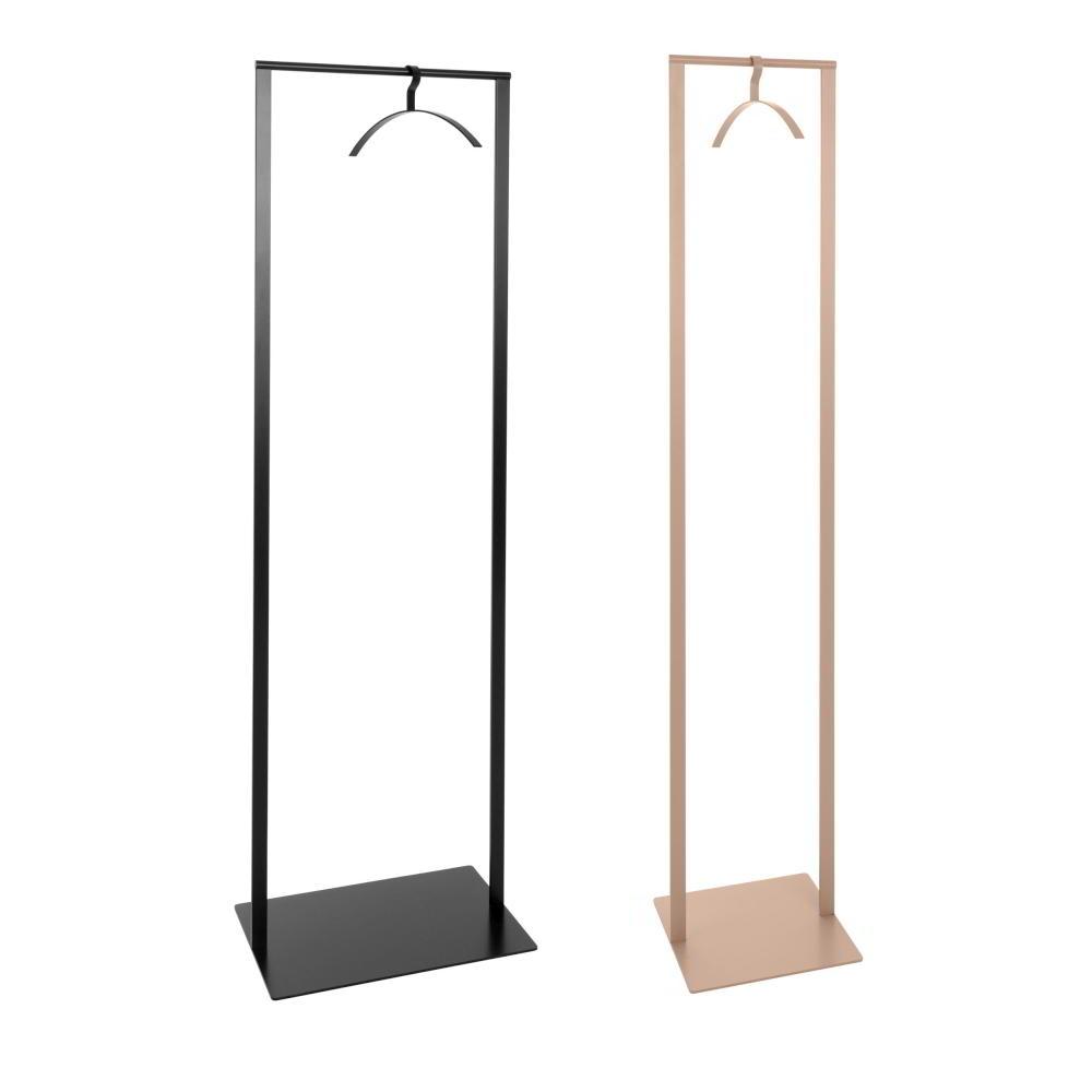 SLIM Standgarderobe 52 cm breit in schwarz (links) und 33 cm breit in rosenholz (rechts) mit Kleiderbügel 0210