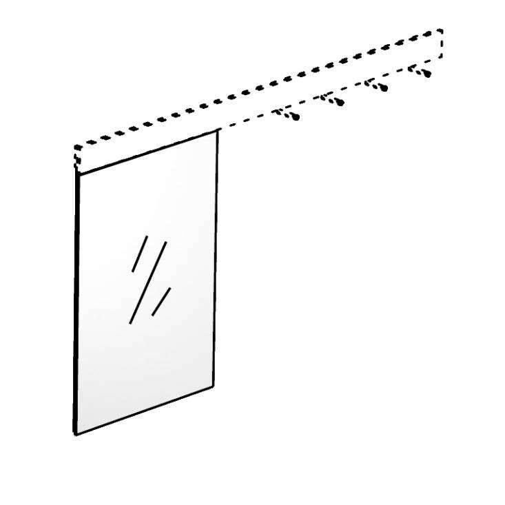 TRACE Spiegel zum Einhängen in Hakenleiste, Höhe 64 cm