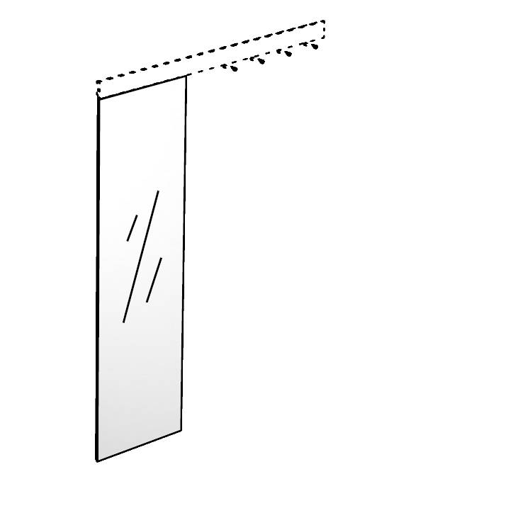 TRACE Spiegel zum Einhängen in Hakenleiste, Höhe 144 cm