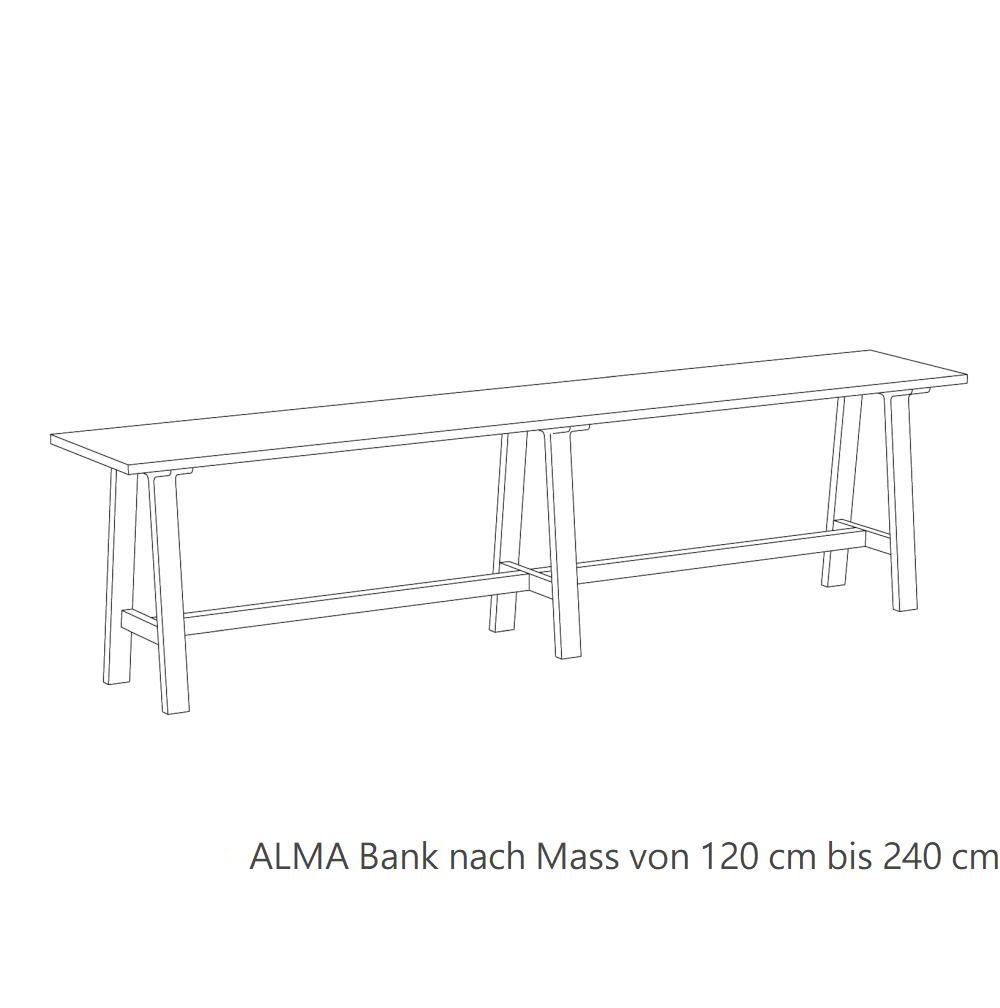 ALMA Bank Maßanfertigung von 120 bis zu 240 cm