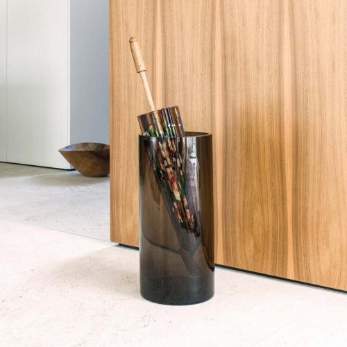 Glasschirmständer 0510, rauchglas, mit Schirm