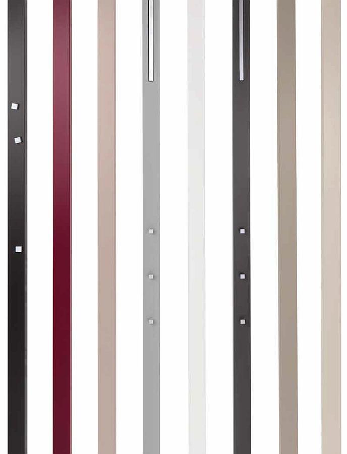 LINE Gardeorbensystem von links nach rechts: Magnetstab, 2x Dekostab, Garderobe, Dekostab, Garderobe, 2x Dekostab