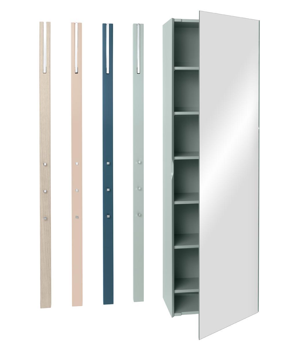 LINE Garderobenschrank mit 6 Einlegeböden und 4 LINE Garderoben
