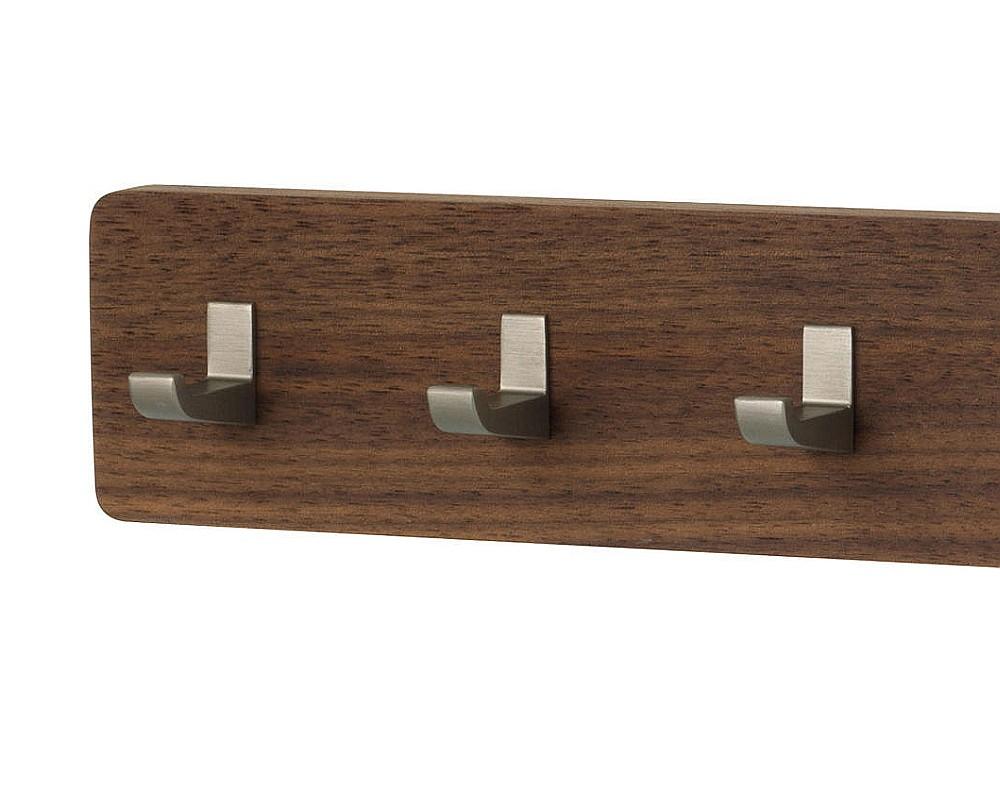 KEY BAR Schlüsselbrett Nussbaum, Haken Aluminium bronze eloxiert