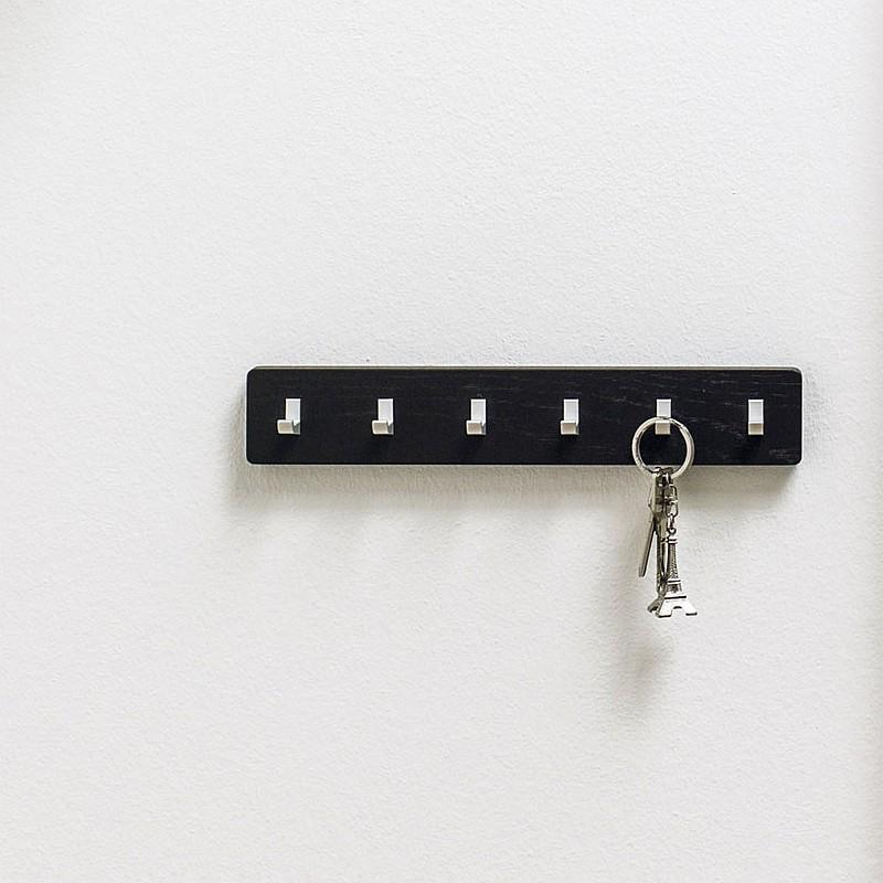 KEY BAR Schlüsselbrett schwarz lackiert, mit 6 Haken Alu silber
