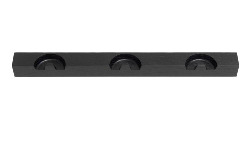 NICK Garderobenleiste von schönbuch, 51 cm breit mit 3 Garderobenhaken in schwarz lackiert