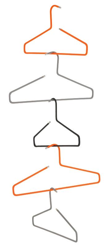 Schönbuch Kleiderbügel 0117 mit Textilbezug in leuchtrot, alugrau und schwarz