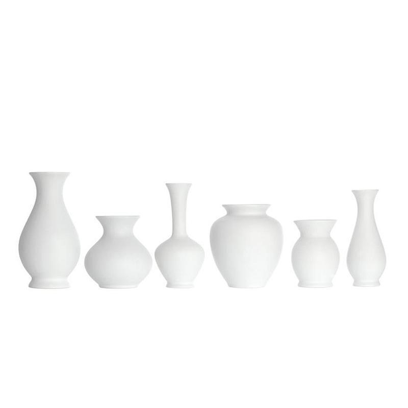 Blossom Vasen, weißes Biskuitporzellan, 6er Set