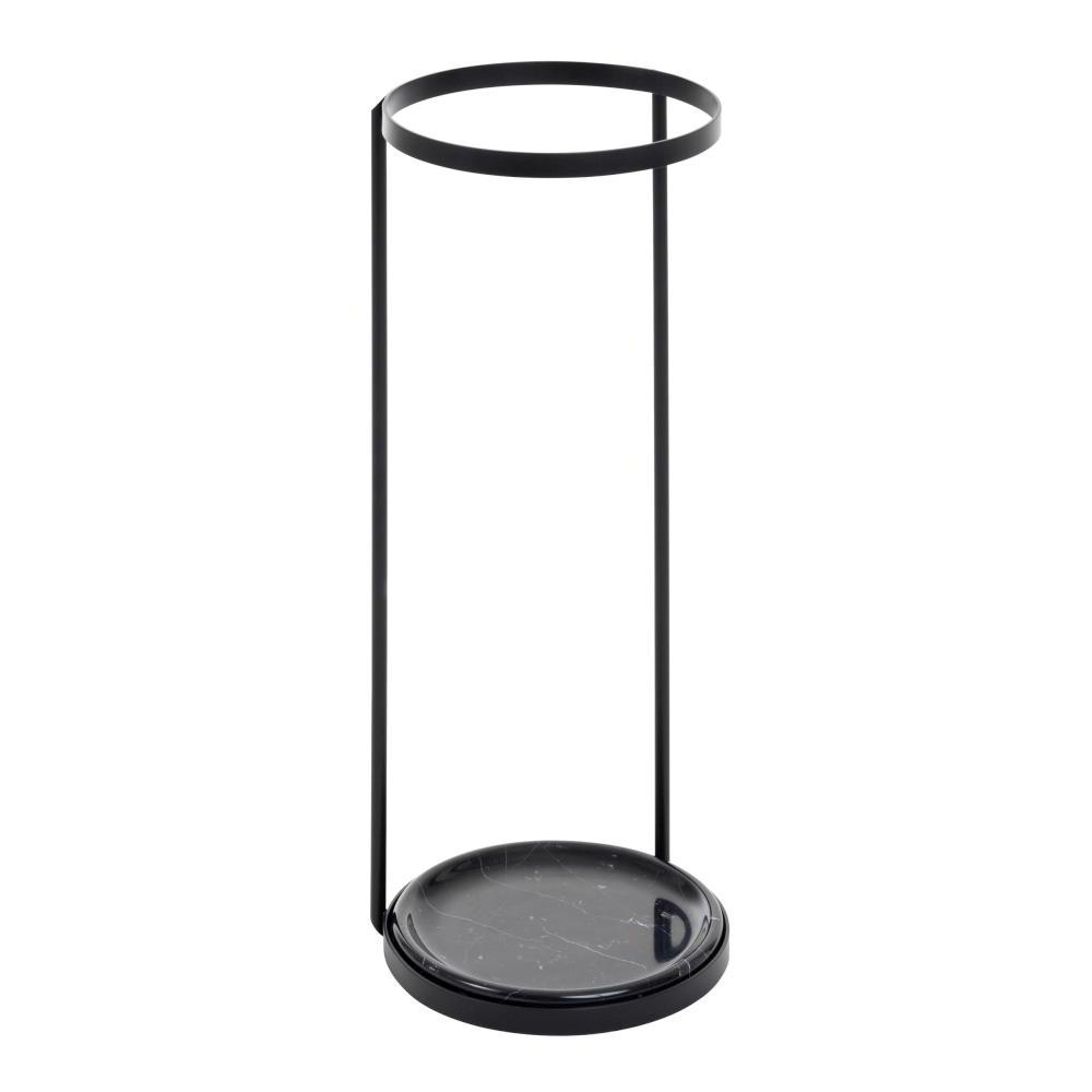 PONTI Schirmständer Stahl schwarz pulverbeschichtet mit Schale aus Marmor Nero Marquina schwarz