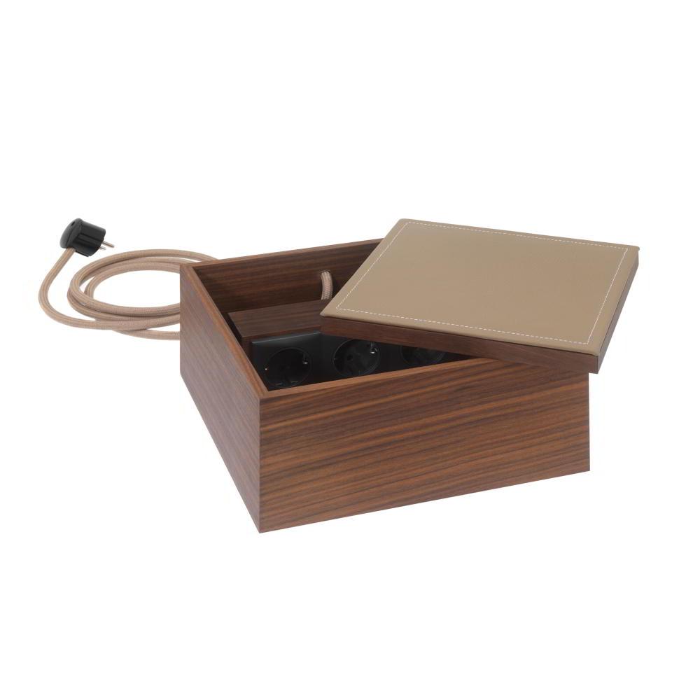 HESPERIDE Elektrobox Nussbaum / Leder nougat
