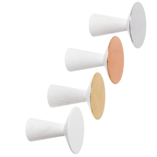 HAKEN 0390 Garderobenhaken Lack weiß, vergoldet, versilbert, verkupfert, VPE 4 Stück