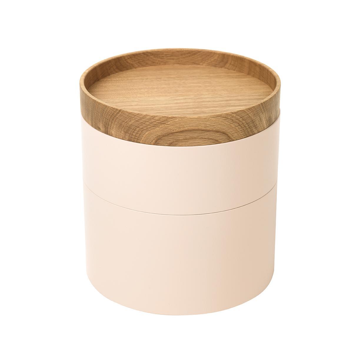 CAPSULE Holzdosen 2er-Set Lack vanille / Deckel Eiche natur geölt