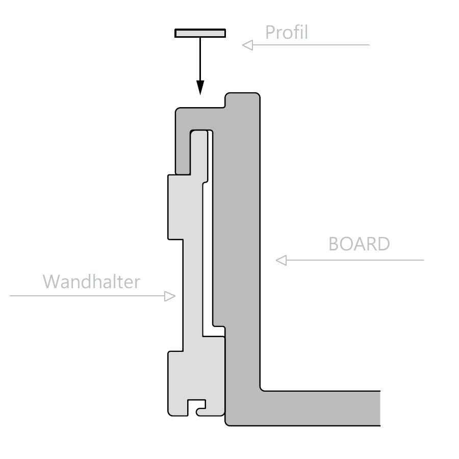 S7 Abdeckprofil für das Board, Aluminium natur eloxiert