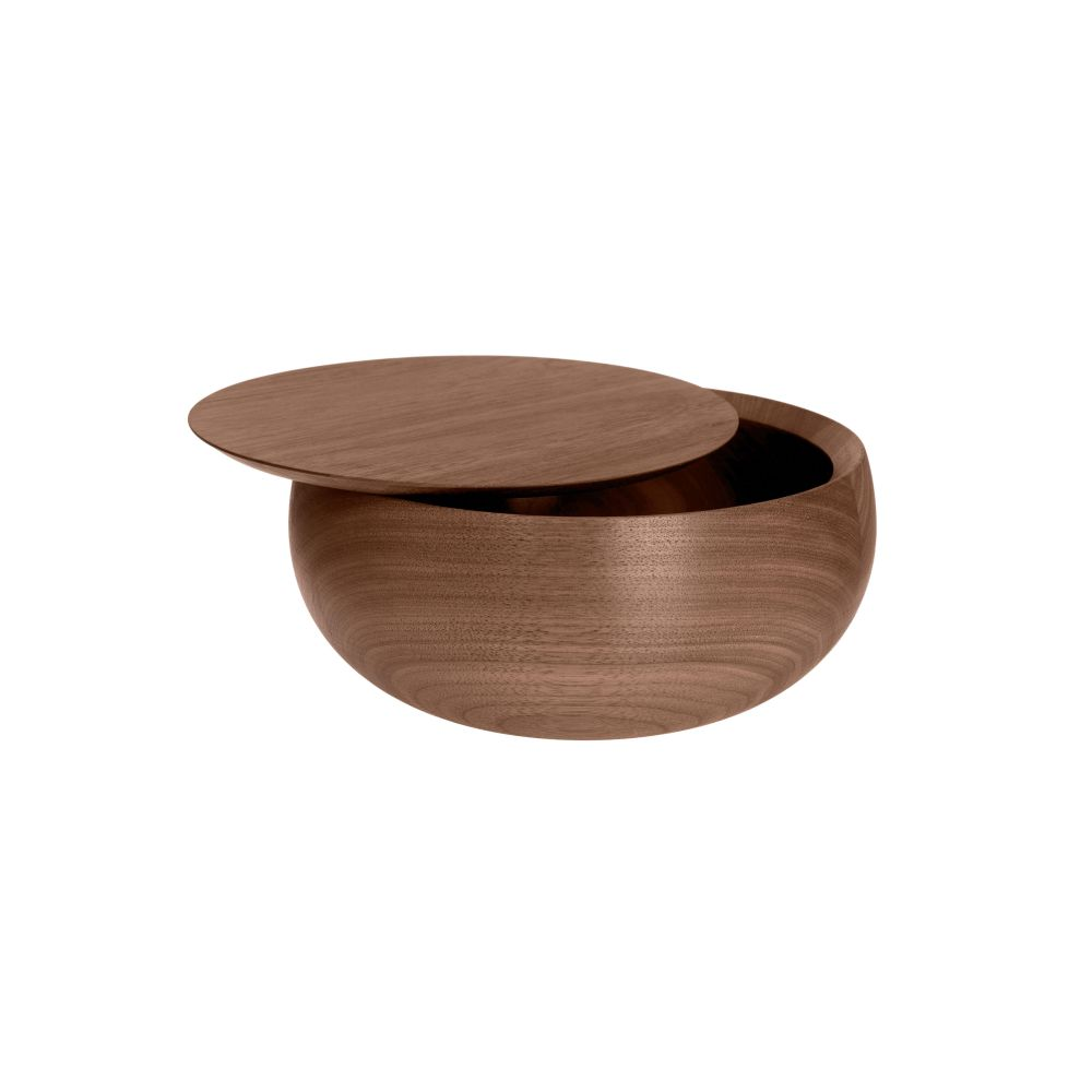 BOWL Holzdose mit Deckel Ø 11 x H 5 cm, Nussbaum geölt